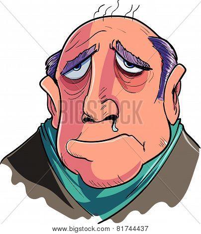 Cartoon man suffering from flu