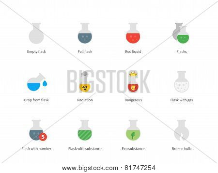 Flacon and flask color icons on white background.