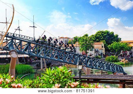 Roller Coaster in funny amusement park