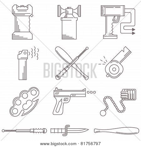 Black line vector icons for self defence