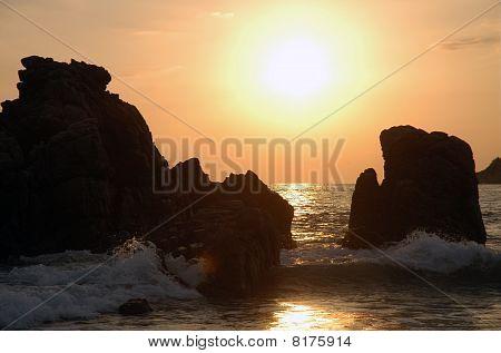 Beach During The Sunset, Puerto Escondido, Mexico