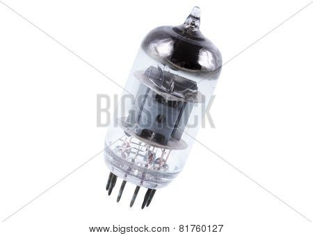 Single vacuum electron tube. Isolated over white. poster