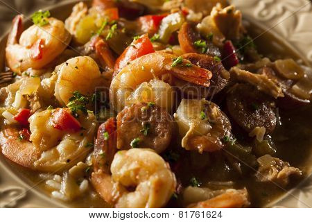 Homemade Shrimp And Sausage Cajun Gumbo