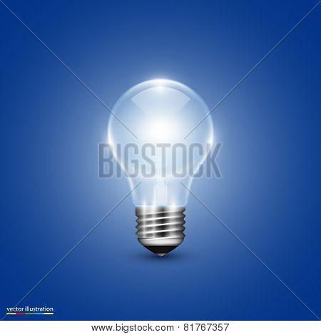 Vector light bulb on background