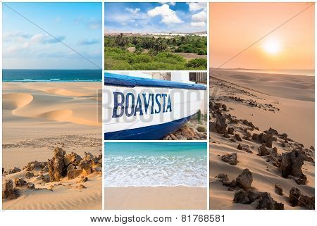 Picture montage of Boavista island landscapes in Cape Verde archipel poster