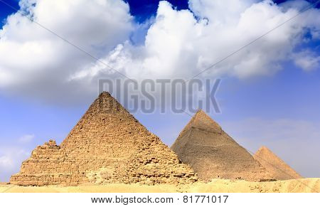 Great Pyramids, Located In Giza. Panorama