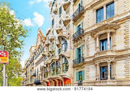 BARCELONA, SPAIN - SEPT  04, 2014: Outdoor view  Gaudi's  creation-house Casa Batlo.