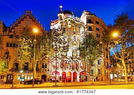 BARCELONA, SPAIN - SEPT  04, 2014: Night outdoor view  Gaudi's  creation-house Casa Batlo.