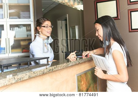 A dental assistance receptionist appointment at the dentist office poster