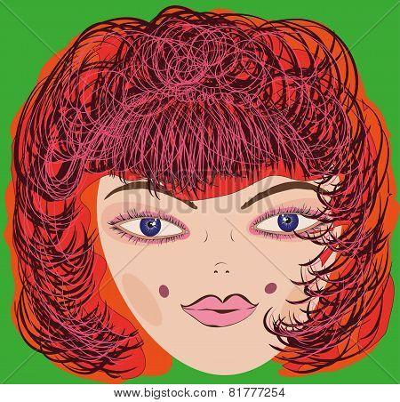 Vector girl one big head.