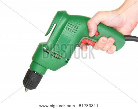 Electric Drill In A Hand Isolated On White.