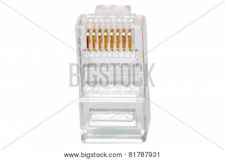 Network Connection Plug Rj-45. Macro. Isolated.