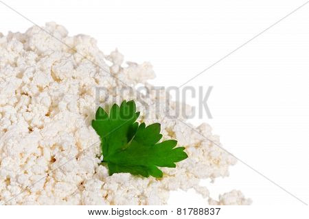Fresh cottage cheese (curd) heap isolated on white background. poster