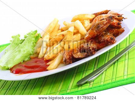 Deep-fried potatoes with fry shrimps and lettuce. Isolated over white background poster