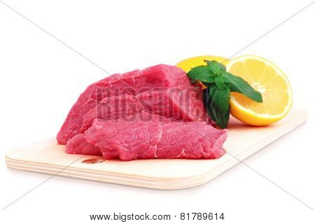 Raw meat.