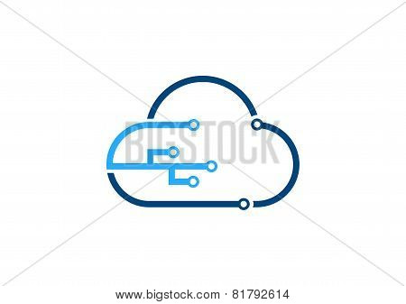 Cloud computing technology logo, blue cloud sign, Internet Connection cloud icon