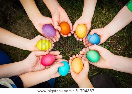 easter eggs in child hands