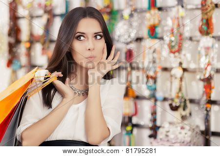 Surprised Beautiful Woman Shopping