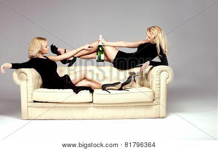 Elegant Two Woman Celebrating.