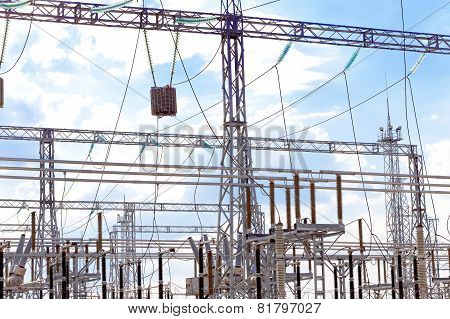 Energo Substation and Power Transmission Lines in big city. poster