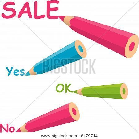 Colorful pencil .vector illustration isolated on white background