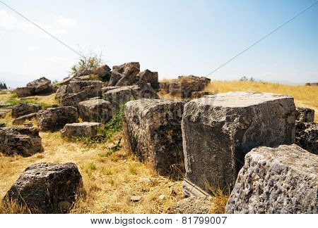Square Stones , Remained After An Ancient Temple.