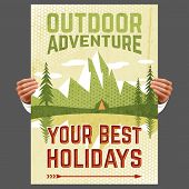 Your best outdoor holiday adventure hiking tours travel agency advertisement poster with forest tent abstract vector illustration poster