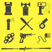 Set of black silhouette vector icons for self defense weapons and accessory on yellow background. poster