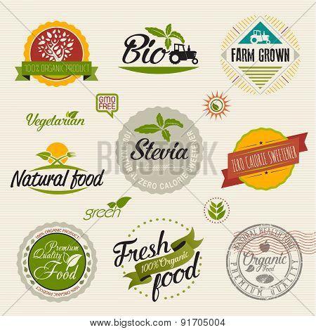 Organic food and stevia label logo Set
