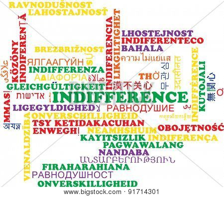 Background concept wordcloud multilanguage international many language illustration of indifference