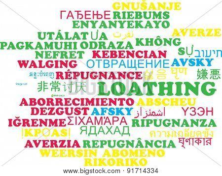 Background concept wordcloud multilanguage international many language illustration of loathing
