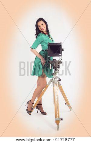Pin-up photographer girl