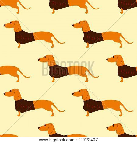Pattern With Dachshund In Sunglasses