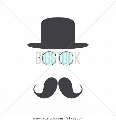 Pince-nez, Mustache And Hat
