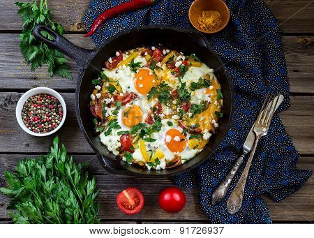 Eggs Poached With Vegetables,named