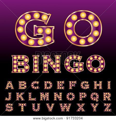 vector purple golden entertainment and casino letters with bulb lamps