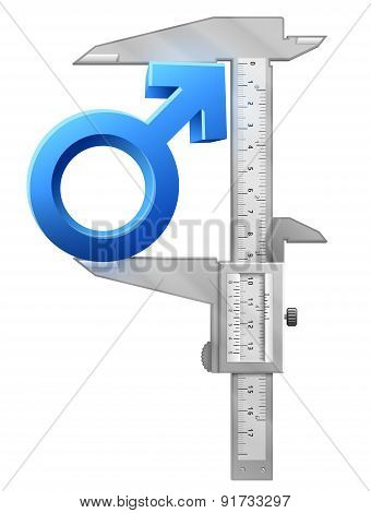 Caliper Measures Male Sign