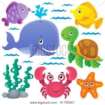 Ocean fauna thematic collection 1 - eps10 vector illustration.