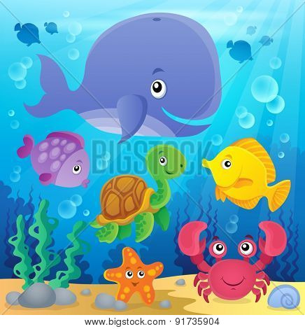 Underwater ocean fauna theme 7 - eps10 vector illustration. poster