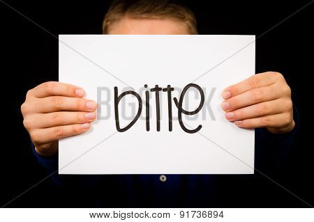 Studio shot of child holding a sign with German word Bitte - Please poster
