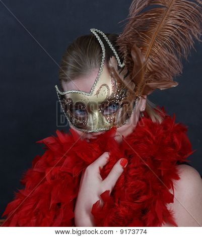 Young woman in carnival mask