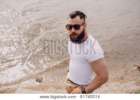 Bearded Man On Thebeach