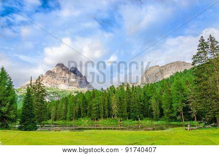 Mountain landscape of Sexten Dolomites, Italy