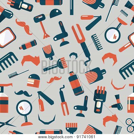 Barber shop icons on a gray background poster