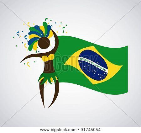 Brazil design over gray background vector illustration