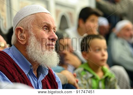 Fatih Mosque Ritual Of Worship Centered In Prayer, Istanbul, Turkey