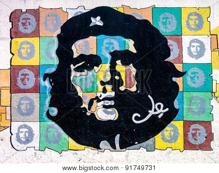 HAVANA,CUBA - MAY 25,2015 : Painting of Che Guevara on a wall in Havana