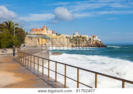 Estoril coastline view near Lisbon in Portugal poster