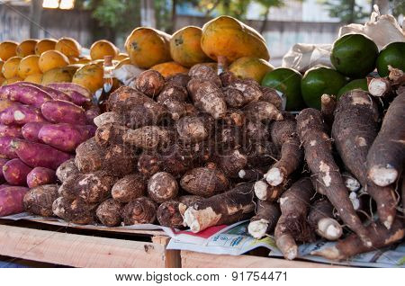 Taro Roots in the Market