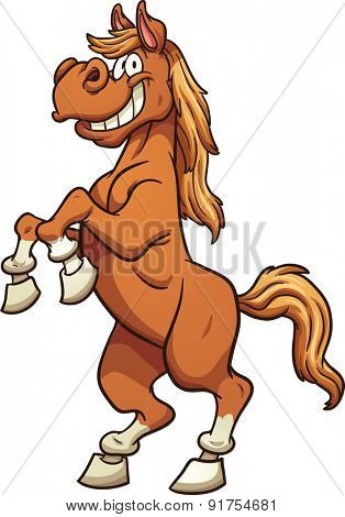Cartoon horse standing on two legs. Vector clip art illustration with simple gradients. All in a single layer.